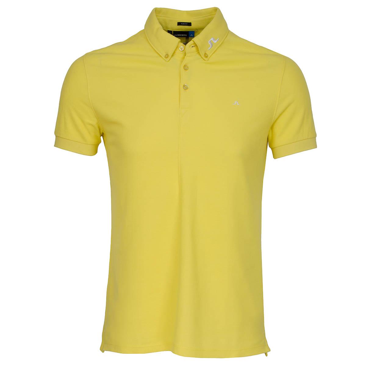 J lindeberg rubi bd tour logo polo shirt sunny yellow for Yellow golf polo shirts
