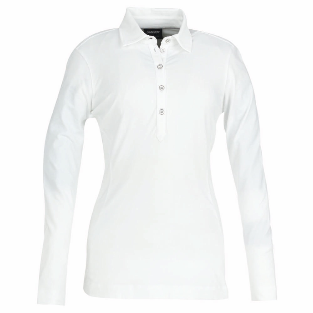 Galvin green mindy ladies long sleeved polo shirt white for Long sleeve polo golf shirts