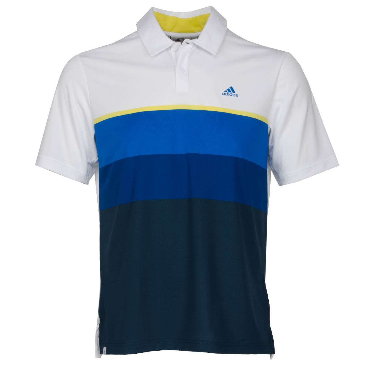 Adidas climacool engineered striped polo shirt white light for Yellow golf polo shirts