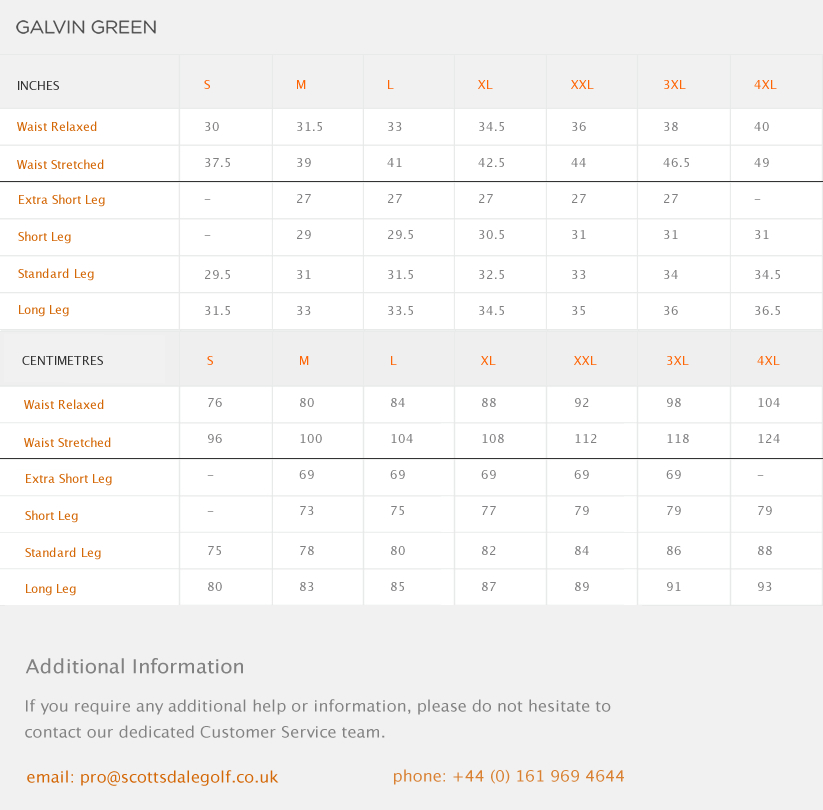 Galvin Green Alf Size Guide