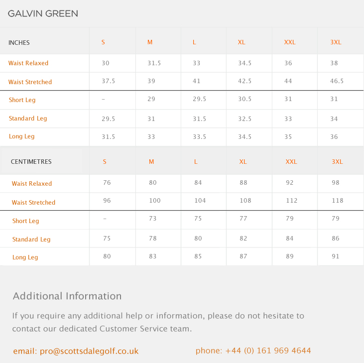 Galvin Green August Size Guide
