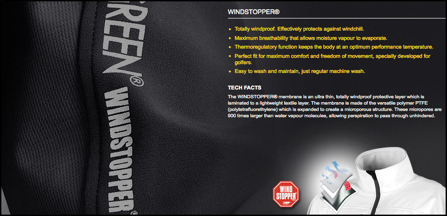 Galvin Green Windstopper Technology