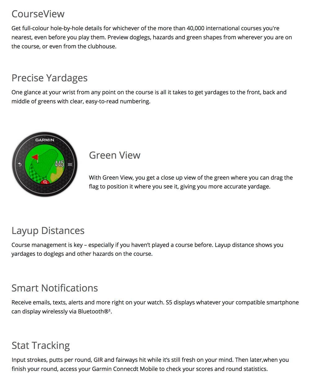 Garmin Approach S5 GPS Golf Watch