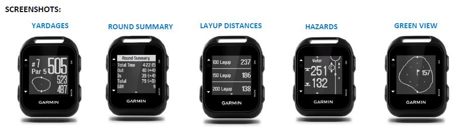 Garmin Approach G10 Screenshots