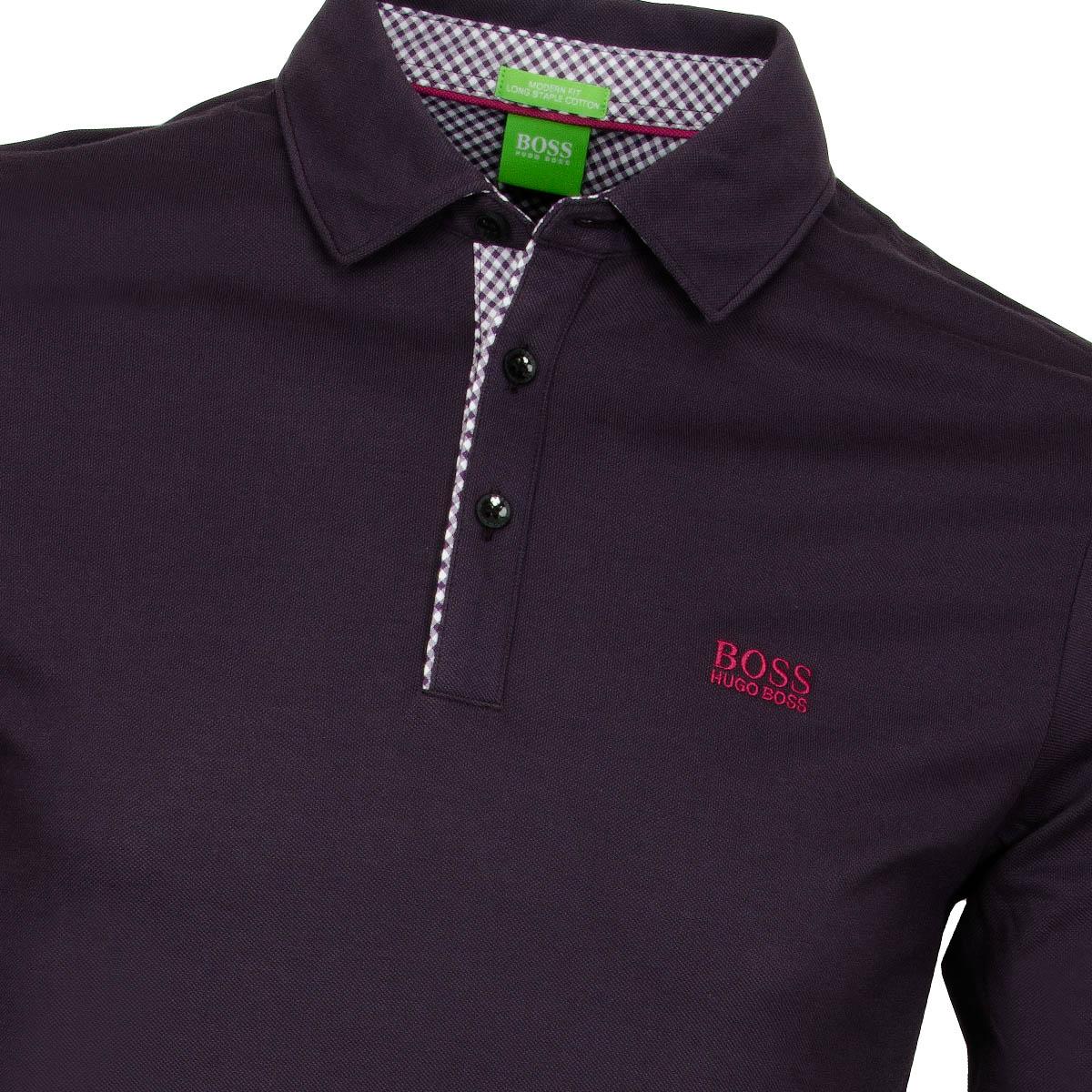 Boss green lesona long sleeve polo shirt dark purple for Long sleeve purple polo shirt
