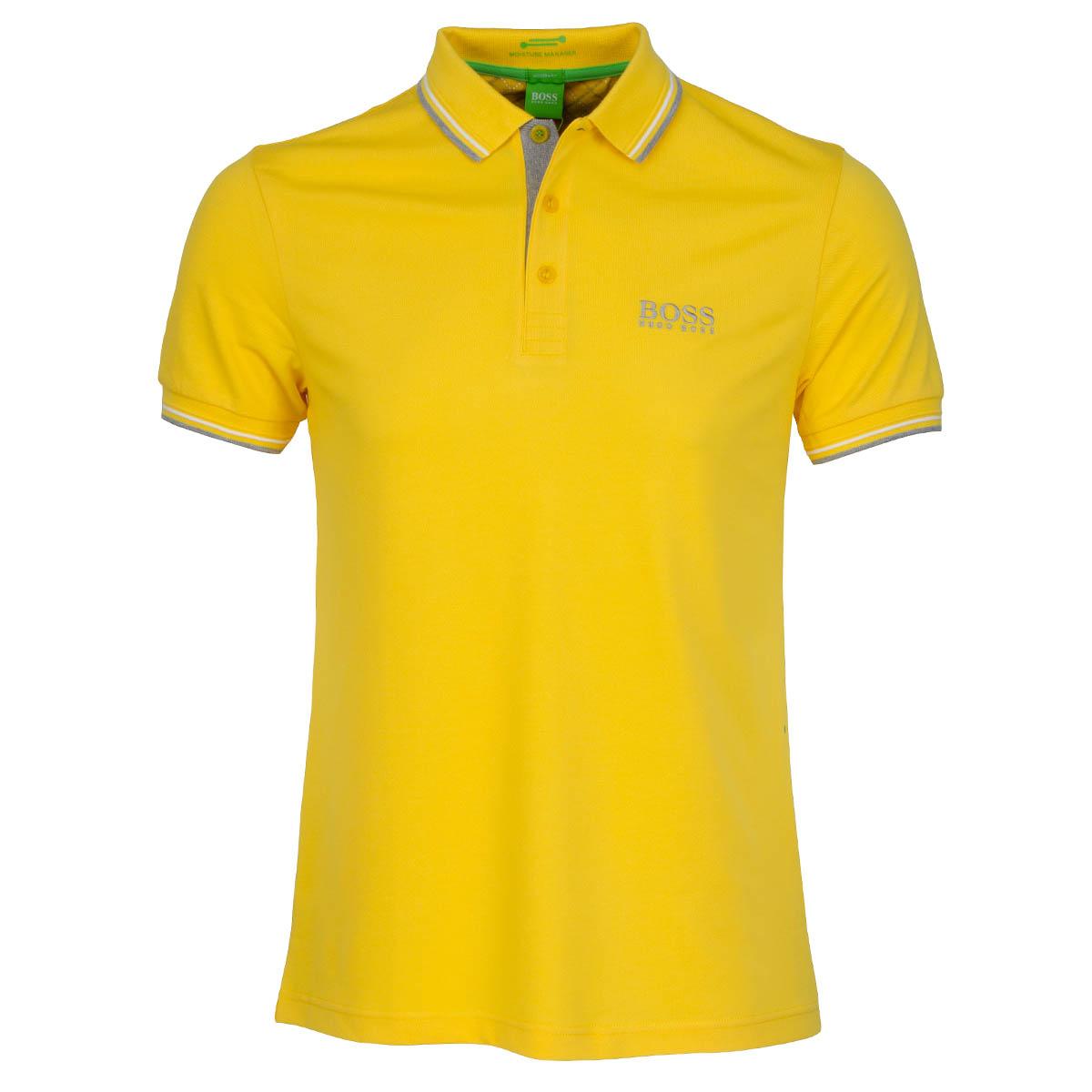 Boss green paddy pro polo shirt bright yellow scottsdale for Yellow golf polo shirts