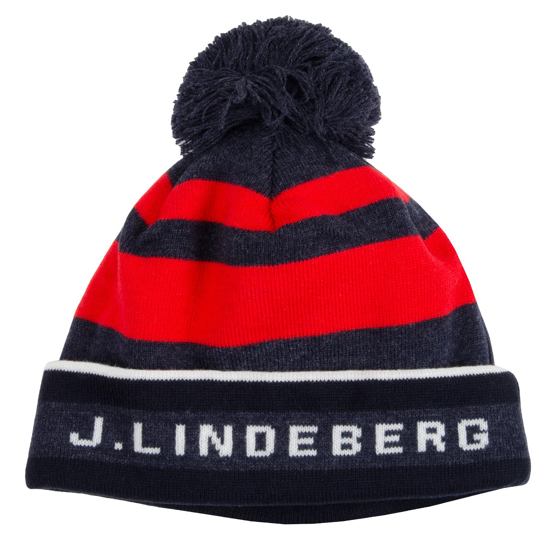 63f127f86cd J Lindeberg Stripe Beanie Hat Navy Melange