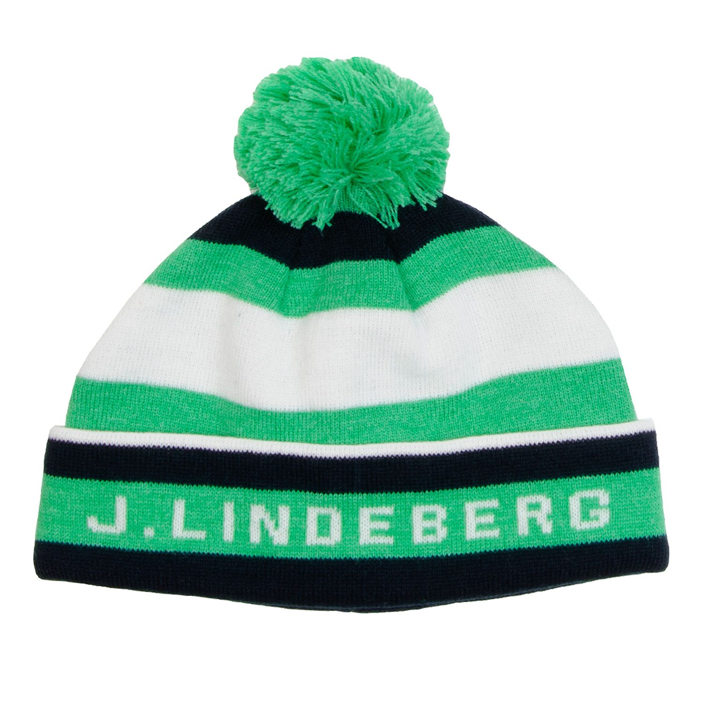 fc5118e730a J Lindeberg Stripe Beanie Hat Dark Green Blue