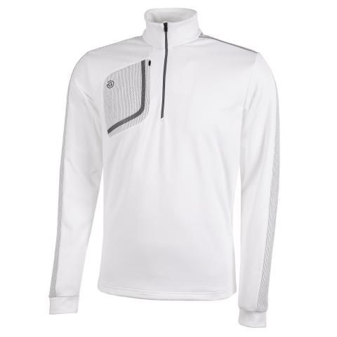 Galvin Green Dwight Insula Half Zip Sweater White/Sharkskin