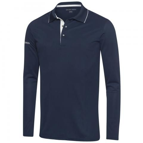 Galvin Green Marc Ventil8 Plus Long Sleeve Polo Shirt Navy/Snow