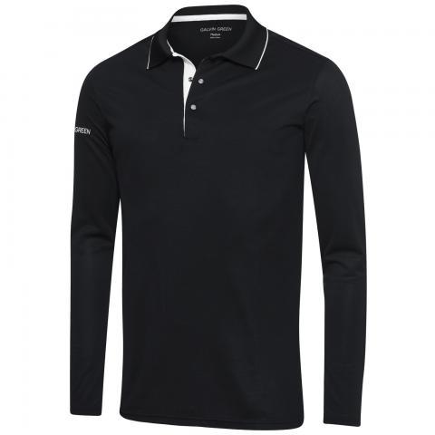 Galvin Green Marc Ventil8 Plus Long Sleeve Polo Shirt Black/White