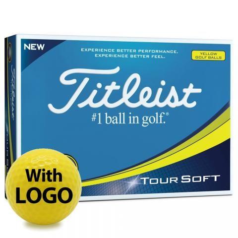 Titleist Tour Soft Logo Golf Balls Yellow with Logo / Minimum 12 Dozen