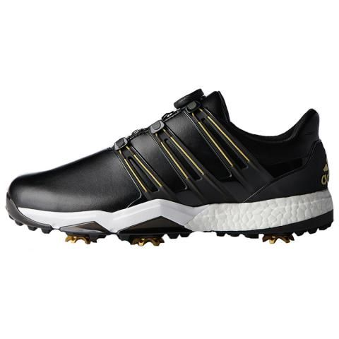 3e6a735bee2 adidas Powerband BOA Boost WD Golf Shoes Core Black Gold Metallic White  £139.00