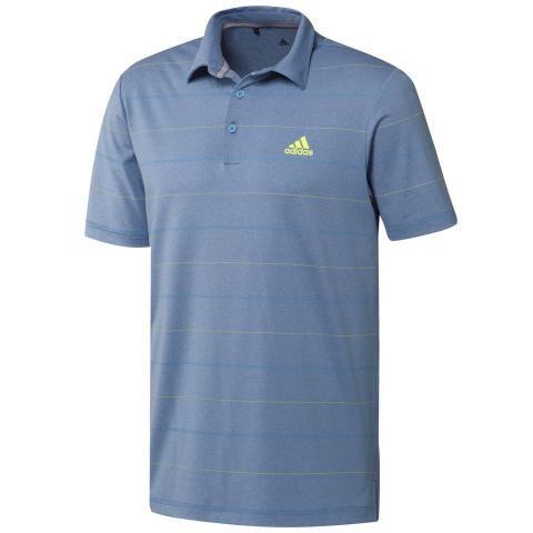 adidas Ultimate 365 Heathered Stripe Polo Shirt Trace Royal/Solar Yellow/Light Blue