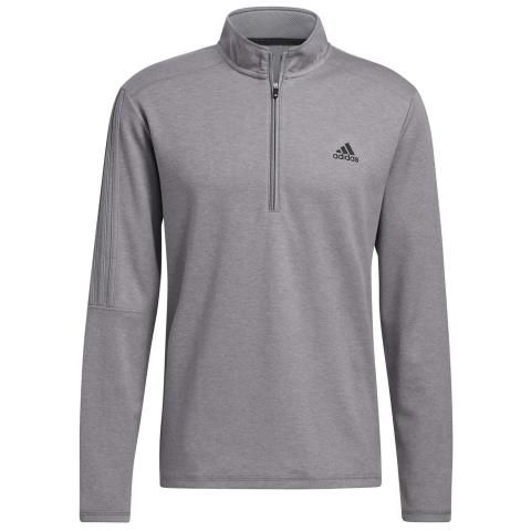 adidas 3-Stripes 1/4 Zip Golf Sweater Grey Three Melange