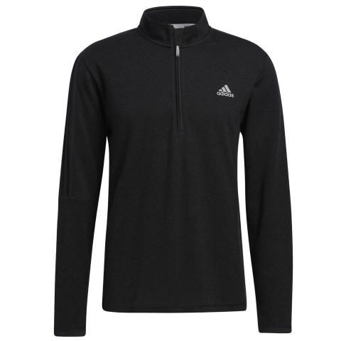 adidas 3-Stripes 1/4 Zip Golf Sweater Black Melange
