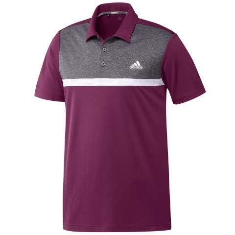 adidas Colour Block Polo Shirt Power Berry/Black Melange