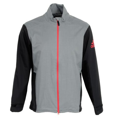 Adidas climaproof heathered rain jacket vista grey black for Adidas golf rain shirt