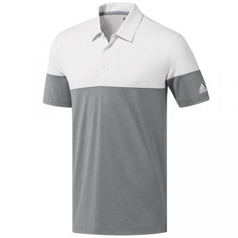 24d4beb7 adidas Ultimate 365 Heather Blocked Polo Shirt Grey Three/Crystal White