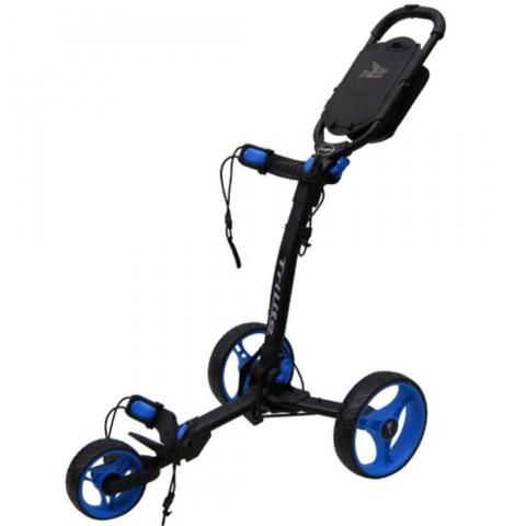 Axglo TriLite 3-Wheel Push Golf Trolley Black/Blue + 2 Free Accessories