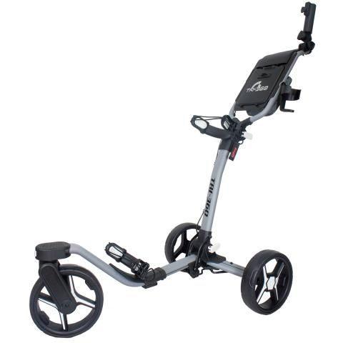 Axglo Tri-360 3-Wheel Push Golf Trolley Grey/Black + 2 Free Accessories