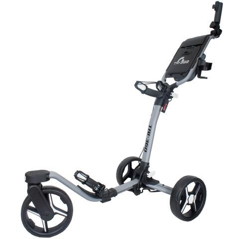 Axglo Tri-360 3-Wheel Push Golf Trolley Grey/Grey + 2 Free Accessories