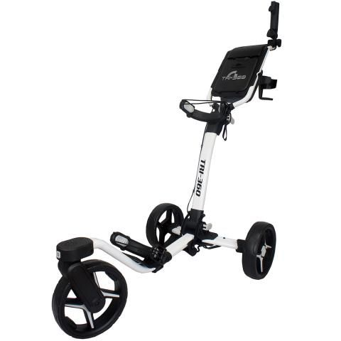 Axglo Tri-360 3-Wheel Push Golf Trolley White/White + 2 Free Accessories