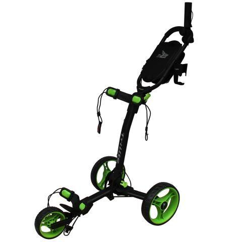 Axglo TriLite 3-Wheel Push Golf Trolley Black/Green + 2 Free Accessories