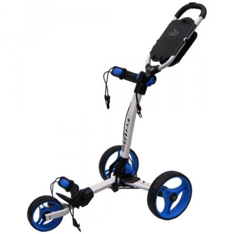 Axglo TriLite 3-Wheel Push Golf Trolley White/Blue + 2 Free Accessories