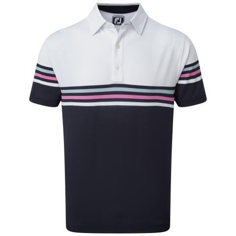 FootJoy Stretch Pique Colour Block Polo Shirt White/Navy 90365