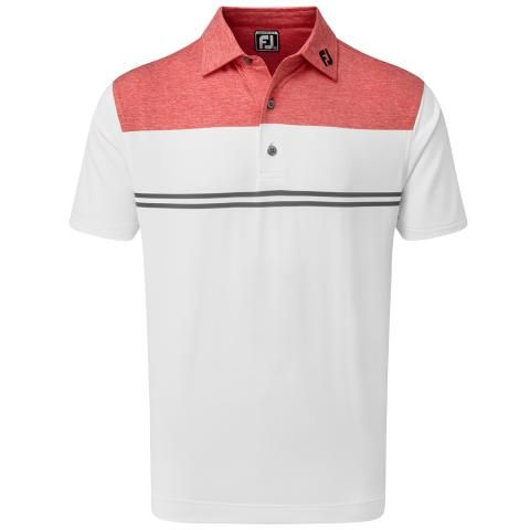 FootJoy Heather Colour Block Lisle Polo Shirt Heather Red/White/Charcoal 90372