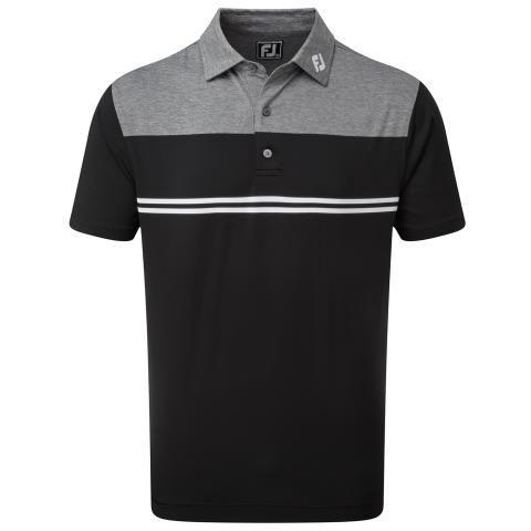 FootJoy Heather Colour Block Lisle Polo Shirt Heather Charcoal/Black/White 90373