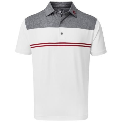 FootJoy Heather Colour Block Lisle Polo Shirt Navy/White/Red 90374