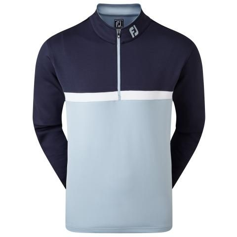 FootJoy Colour Blocked Chill Out Zip Neck Golf Sweater Navy/Blue Fog/White 90379