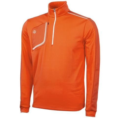 Galvin Green Dwight Insula Half Zip Sweater Red Orange/White