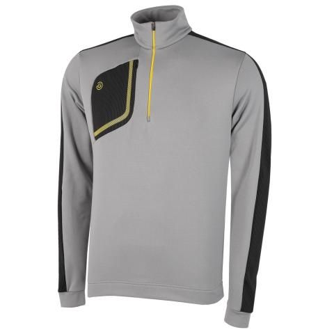 Galvin Green Dwight Insula Half Zip Sweater Sharkskin/Black/Yellow