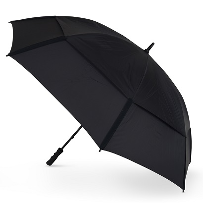 GustBuster Pro Golf Gold Series Double Canopy Golf Umbrella Black