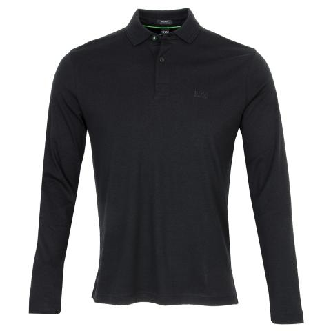 BOSS Pirol Long Sleeve Polo Shirt Black