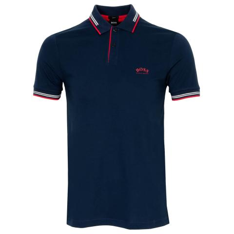 BOSS Paul Curved Polo Shirt Navy 415