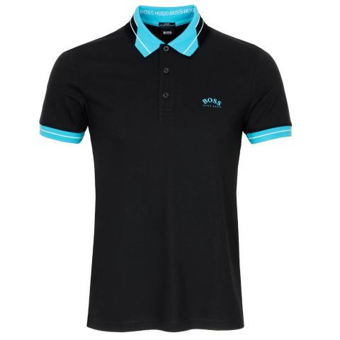 BOSS Paule Curved Polo Shirt Black