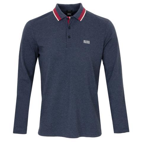 BOSS Plisy Long Sleeved Polo Shirt Navy