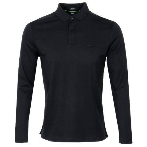 BOSS Pirol Long Sleeve Polo Shirt Black 001