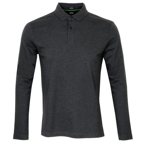 BOSS Pirol Long Sleeve Polo Shirt Charcoal
