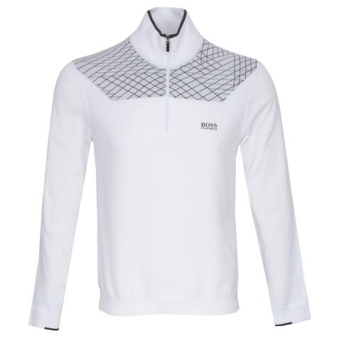 BOSS Zaden Zip Neck Sweater White