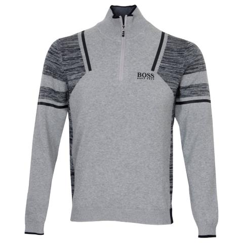 BOSS Zano Pro Zip Neck Sweater Grey Melange