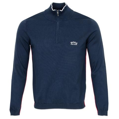 BOSS Ziston Zip Neck Sweater Navy
