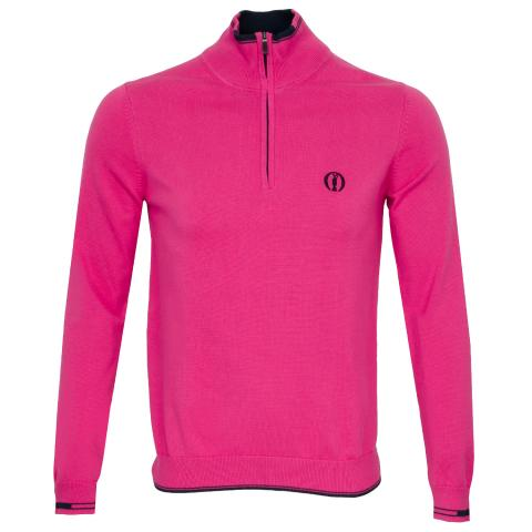 BOSS Zyrod Open Championship Zip Neck Sweater Bright Pink