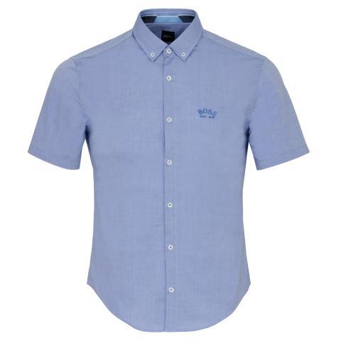 BOSS Biadia R Short Sleeve Dress Shirt Medium Blue
