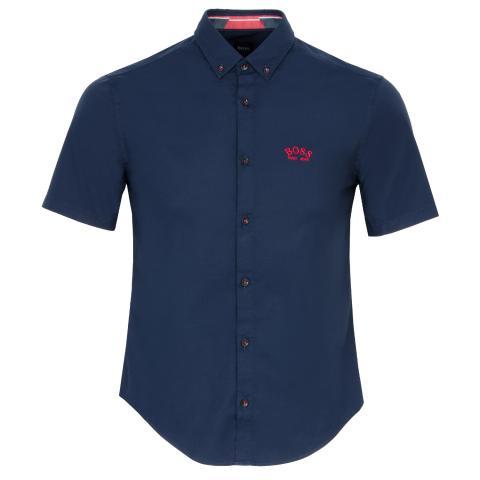 BOSS Biadia R Short Sleeve Dress Shirt Navy