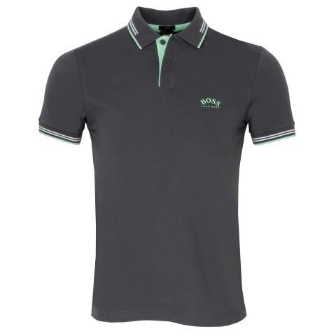 BOSS Paul Curved Polo Shirt Grey